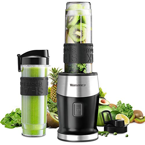 41+DgeJLLEL - Smoothie Mixer, UPGRADED Willsence 700W Standmixer Smoothie Maker, Single Serve Mini Bullet Mixer mit 2 Tritan Sportflasche für Säfte, Shakes und Smoothies,