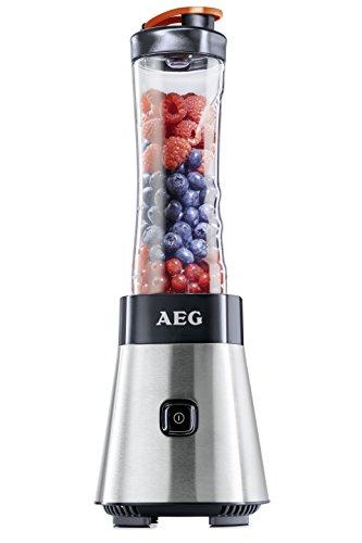 AEG PerfectMix SB 2400 Mini Mixer / Smoothiemaker mit 0,4 PS-Power-Motor (bis zu 23.000 U/min, 4 Edelstahlmesser, bruchfeste 0,6 l BPA-freie Tritan-Trinkflasche, Standmixer mit gebürstetem Edelstahlgehäuse)