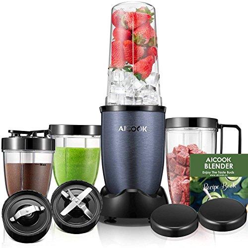 Aicook Smoothie Maker, Standmixer, Mixer, Smoothie Mixer mit 4 BPA-freien Tritan Trinkflasche, 2 Edelstahlklingen, 900W, Blau