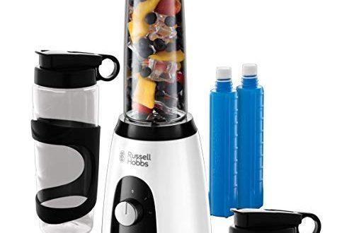Russell Hobbs Mixer Go Standmixer 400 Watt 23000 Umin 500x330 - Russell Hobbs Mixer & Go Standmixer (400 Watt, 23.000 U/min, inkl. Kühlakkus, 2 BPA-freie & spülmaschinenfeste Tritan-Behälter 600ml), Ice-Crush, Profi Smoothie Maker, Horizon Boost 25161-56